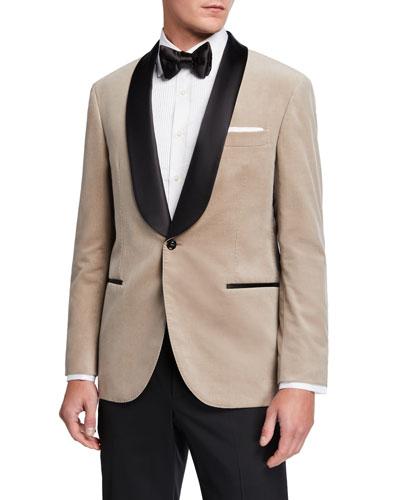 Men's Shawl-Collar Velvet Dinner Jacket