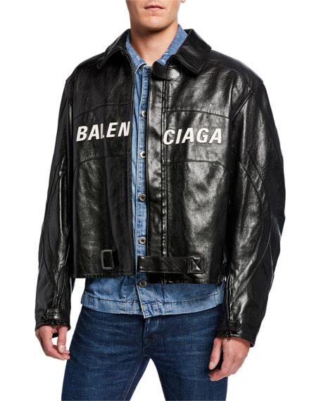 Balenciaga Men's Contrast Logo Leather Moto Jacket