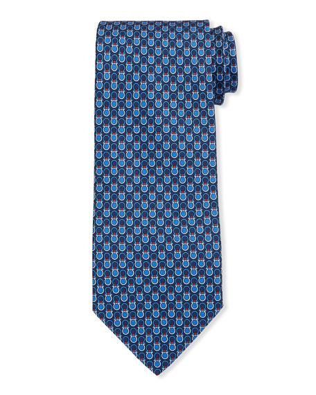 Salvatore Ferragamo Leonard Gancini Silk Tie, Blue
