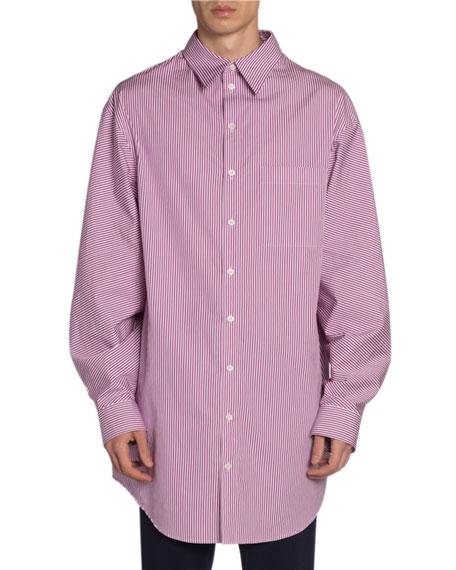Balenciaga Men's Striped Long Shirt