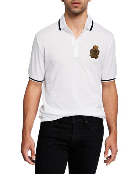 Dolce & Gabbana Men's Crest-Detail Pique Polo Shirt