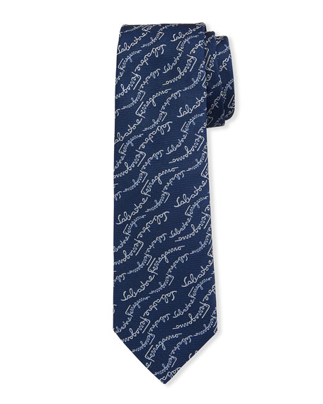 Salvatore Ferragamo Logo Signatures Silk Tie, Blue