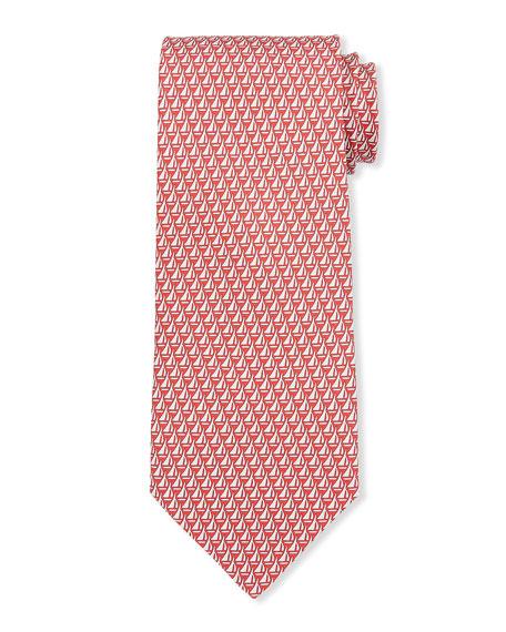 Salvatore Ferragamo Luna Sailboats Silk Tie, Red