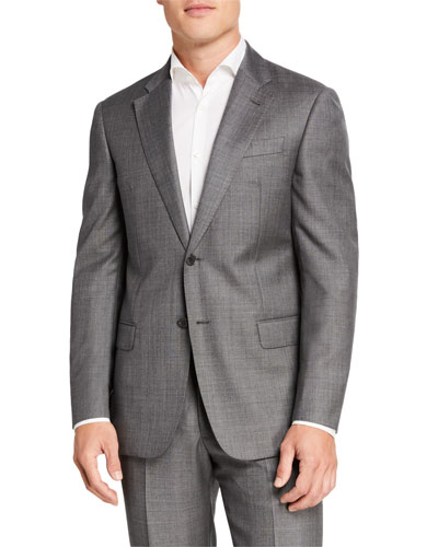 Men's Sharkskin Two-Piece Wool Suit