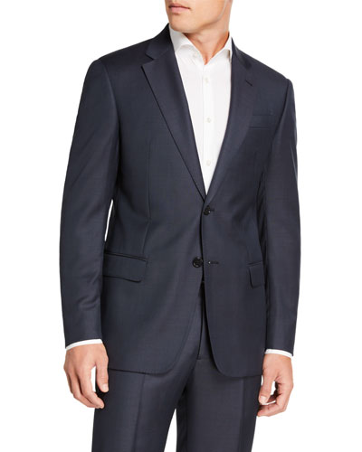 Men's Sharkskin Two-Piece Wool Suit  Blue