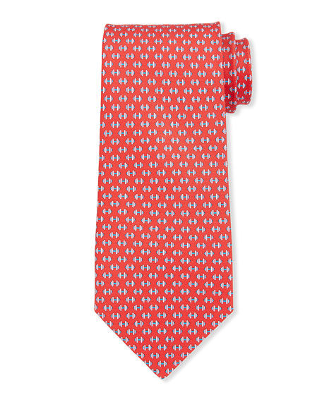 Salvatore Ferragamo Lympic Dumbbells Silk Tie, Red