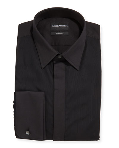 Men's Solid French-Cuff Tuxedo Shirt