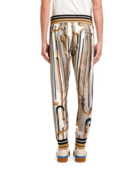 Dolce & Gabbana Men's Canes Silk Jogger Pants