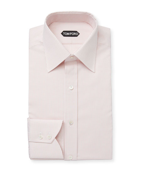 TOM FORD Men's Mini-Check Classic-Collar Cotton Dress Shirt