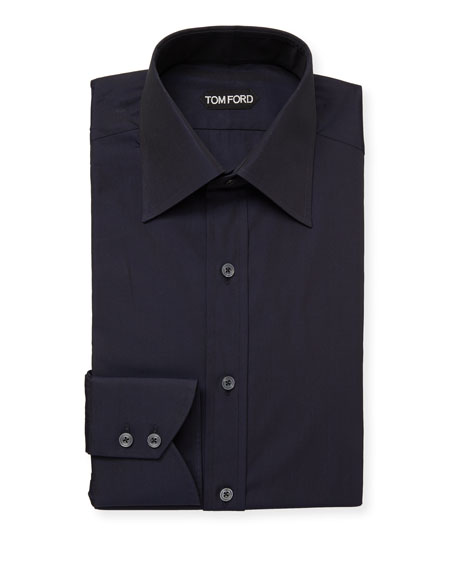 TOM FORD Men's Classic-Collar Poplin Dress Shirt