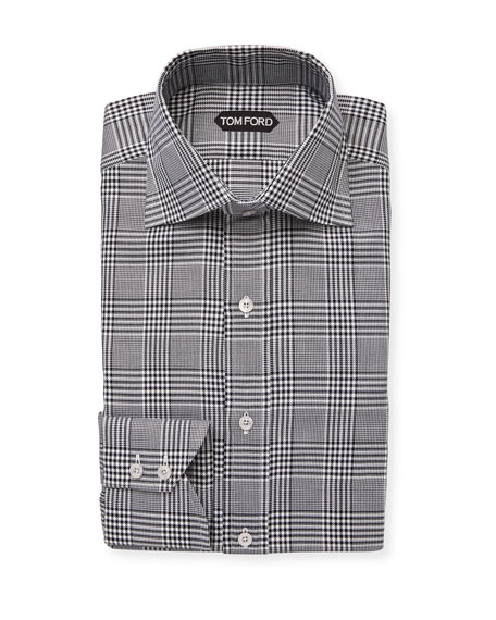 TOM FORD Men's High-Collar Plaid Dress Shirt