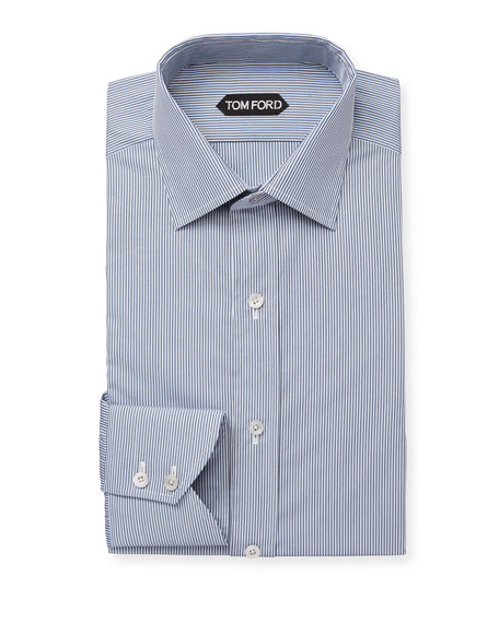 TOM FORD Men's Classic Small-Collar Striped Dress Shirt