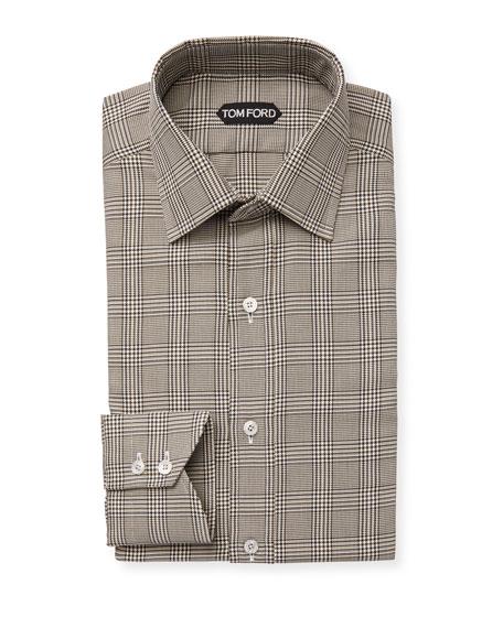 TOM FORD Men's Classic Small-Collar Plaid Dress Shirt