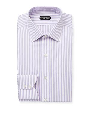 ea61f88cfa4b TOM FORD Men's Classic Small-Collar Striped Herringbone Dress Shirt