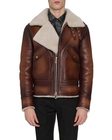 Berluti Men's Leather & Shearling Jacket with Asymmetrical Zip Front