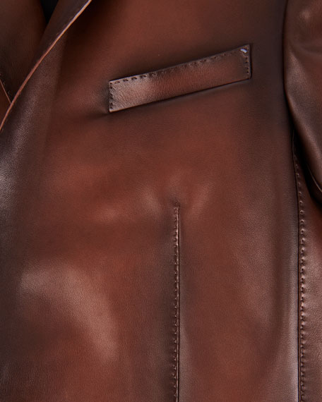 Berluti Men's Leather Two-Button Jacket