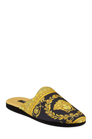Versace Men's Barocco Silk Robe Slippers
