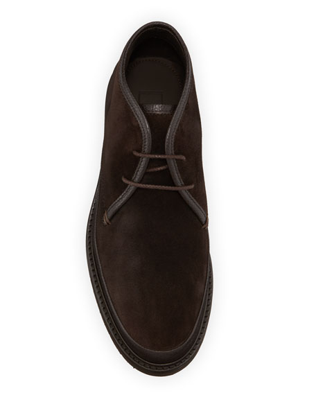 Image 2 of 3: Ermenegildo Zegna Men's Trivero Suede Chukka Boots with Mud Guard, Brown