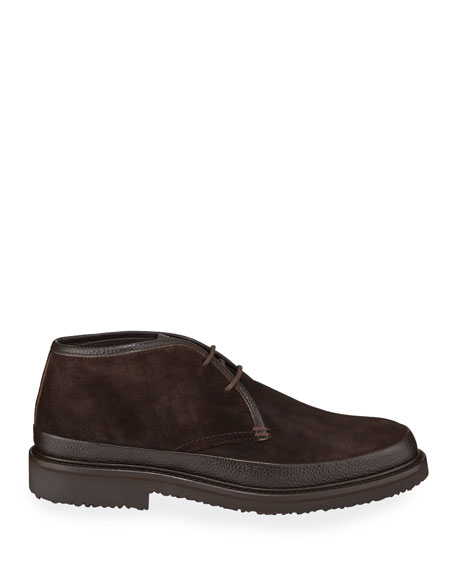 Image 3 of 3: Ermenegildo Zegna Men's Trivero Suede Chukka Boots with Mud Guard, Brown