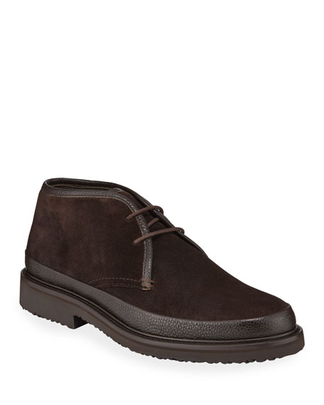 Image 1 of 3: Ermenegildo Zegna Men's Trivero Suede Chukka Boots with Mud Guard, Brown