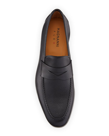 Image 2 of 4: Magnanni for Neiman Marcus Men's Super Flex Leather Penny Loafers