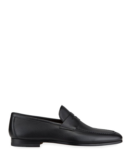 Image 3 of 4: Magnanni for Neiman Marcus Men's Super Flex Leather Penny Loafers