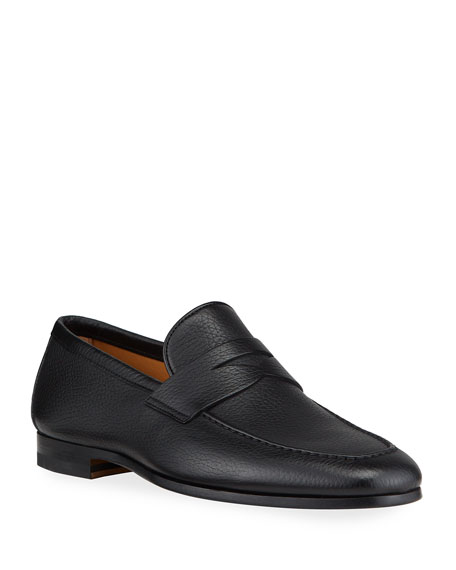 Image 1 of 4: Magnanni for Neiman Marcus Men's Super Flex Leather Penny Loafers