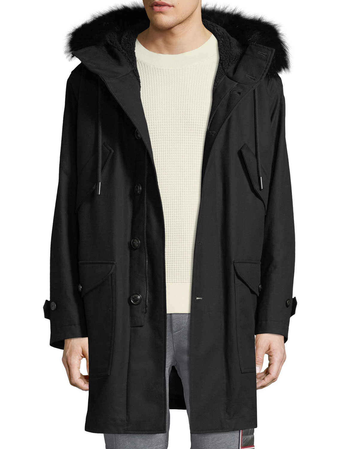 Men's Talence Fur Trim Hooded Jacket by Moncler