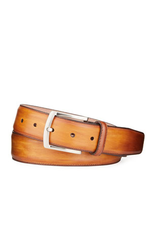 High Springs Leather Men and Womens Brown Name Belt Personalized