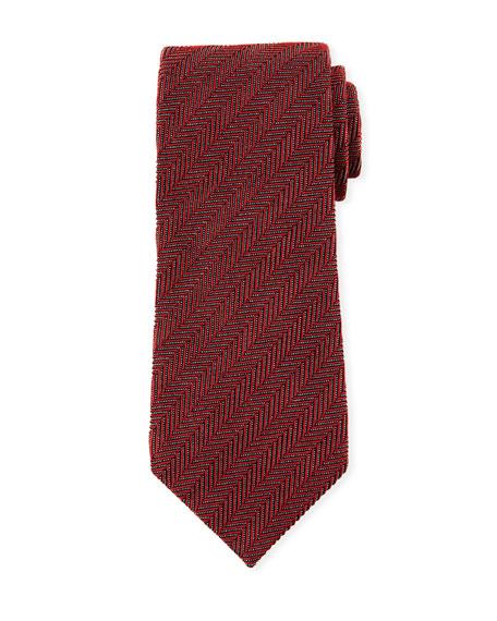 TOM FORD Tonal Stripes 9.5cm Silk/Cotton Tie, Red