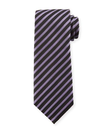 TOM FORD Striped Silk 8cm Tie, Purple