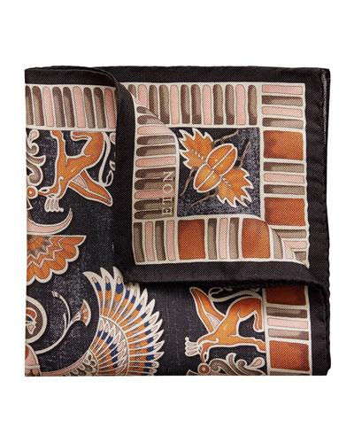 Men's Patterned Silk Pocket Square