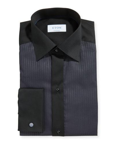 Men's Formal Satin Stripe Contemporary Dress Shirt
