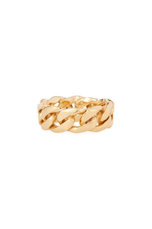 Emanuele Bicocchi Men's Golden Curb Chain Rin