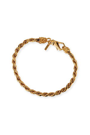 Emanuele Bicocchi Men's Thin French Rope Chain Bracelet, Golden