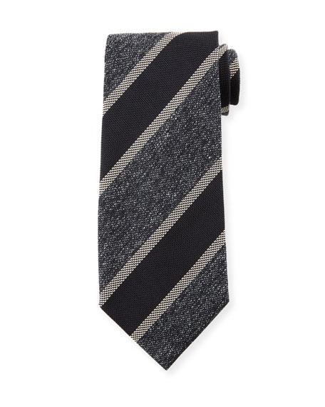 TOM FORD Men's 95cm Silk-Blend Diagonal Stripe Tie, Black