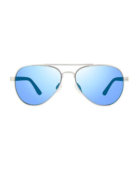Revo Men's Raconteur Polarized Metal Aviator Sunglasses, Chrome