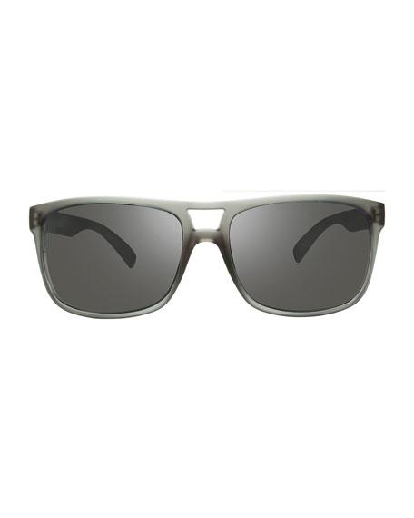 Revo Men's Holsby Polarized Double-Bridge Rectangle Sunglasses, Crystal Gray