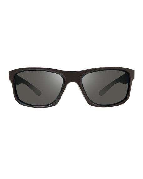 Revo Men's Harness Polarized Rectangle Sunglasses, Black