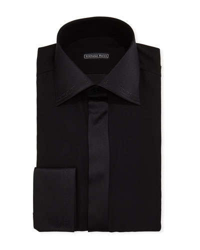 Men's Crystal-Tipped Silk Formal Shirt