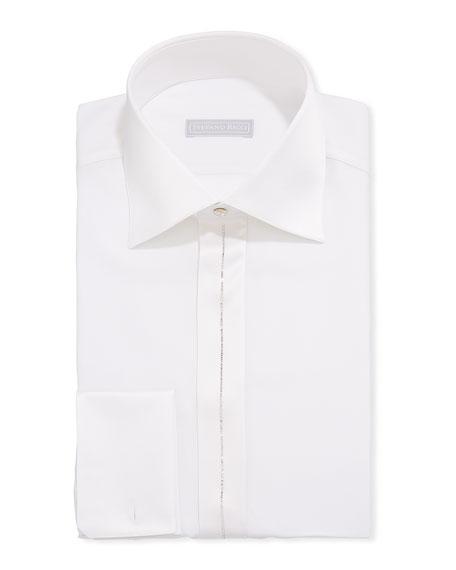 Stefano Ricci Men's Crystal-Striped Silk Formal Shirt