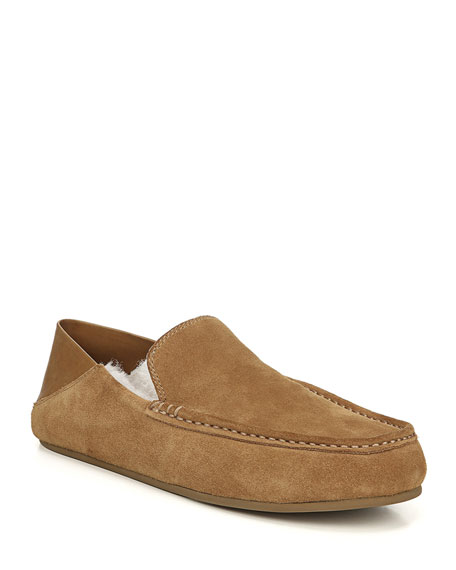Vince Men's Gino Lamb-Shearling & Suede Slippers