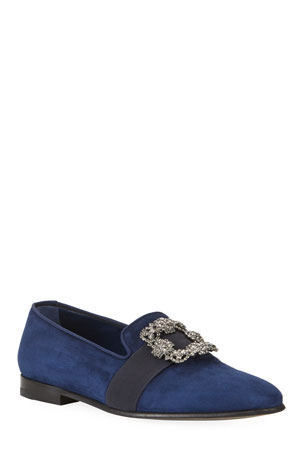 Manolo Blahnik Men's Beau Brummell Carlton Suede Jeweled-Buckle Loafers