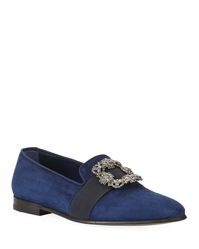 Men's Beau Brummell Carlton Suede Jeweled-Buckle Loafers