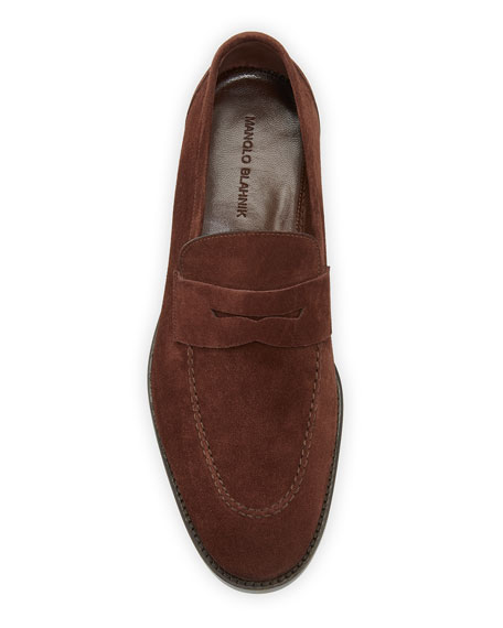 Manolo Blahnik Men's George Suede Penny Loafers