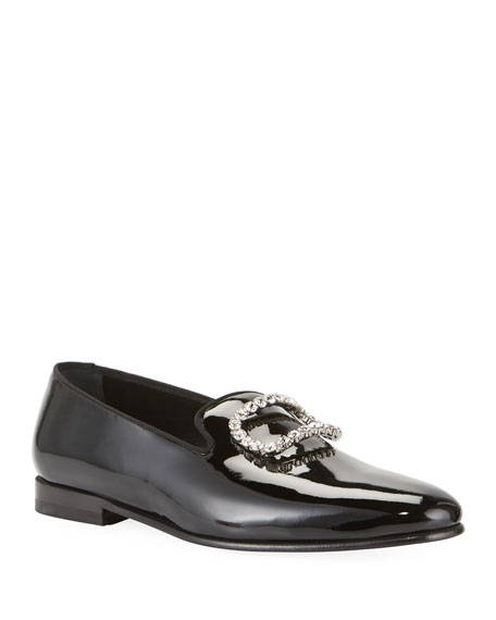 Manolo Blahnik Men's Patent Leather Jeweled-Buckle Loafers