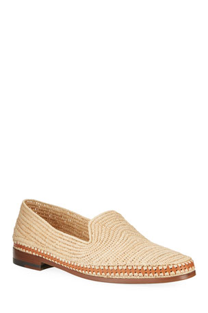 Manolo Blahnik Men's Meknes Woven Raffia Slip-On Shoes