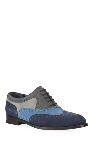 Manolo Blahnik Men's Colorblock Suede Wing-Tip Oxford Shoes