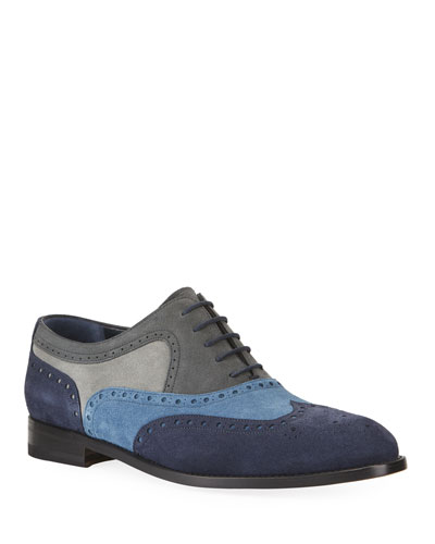 Men's Colorblock Suede Wing-Tip Oxford Shoes