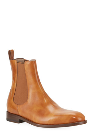 Manolo Blahnik Men's Delsa Leather Chelsea Boots